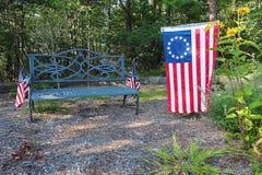 Banc de parc patriotique Photos libres de droits