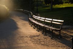 Banc de parc sur la courbe au Central Park Photos libres de droits