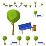 Banc de parc, un arbre et une poubelle de wheelie dans différentes projections de différents angles, isométrique, plats D'isoleme Photo libre de droits