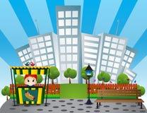Banc de parc, vendeur de hot-dog avec le fond de bâtiment de ville dans polychrome Images stock