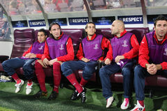 Banc de réserve de CFR Cluj dans Champions League Photo stock