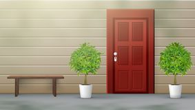Banc de repos de Front Door With Plants And Images stock