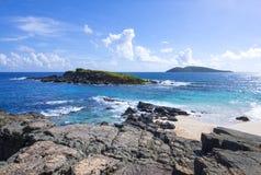Banc de sable de Matojo près de côte des Caraïbes d'Isla Culebra Photographie stock