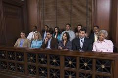 Banc des jurés dans la salle d'audience Image libre de droits