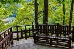 Banc en bois en stationnement Photographie stock libre de droits