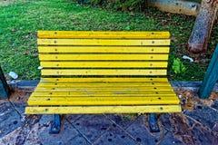 Banc en bois jaune sur la rue à un backround d'herbe Image libre de droits