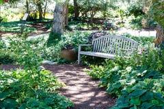 Banc en bois le long de chemin de jardin Image stock