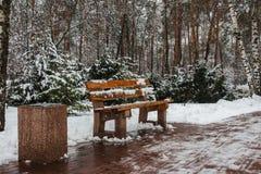 Banc en bois en parc d'hiver dans Kyiv l'ukraine photos libres de droits