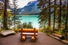 Banc en bois sur le rivage de lac Image libre de droits