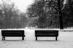 Banc en hiver Photographie stock