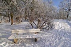 Banc en hiver dans le jardin de station thermale Image stock