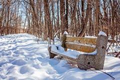 Banc en parc neigeux en hiver Endroit agréable Images libres de droits