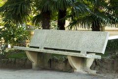 Banc en pierre dans une ville de Toscane Photo stock