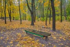 Banc en stationnement d'automne photographie stock libre de droits