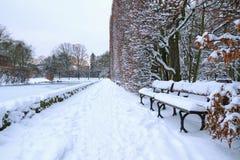 Banc en stationnement à l'hiver neigeux Photographie stock