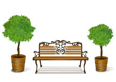 Banc et arbres dans des pots d'isolement Images stock