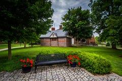 Banc et bâtiments sur le campus de l'université de Gettysburg, dans Gett photographie stock libre de droits