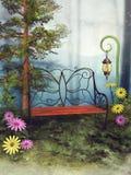 Banc et fleurs d'imagination illustration libre de droits