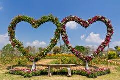 Banc floral de siège d'amour Photo libre de droits