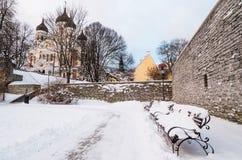 Banc pendant l'hiver vieux Tallinn de parc photo libre de droits