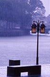 Banc public sous la pluie, Singapour photographie stock libre de droits