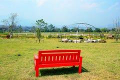 Banc rouge dans le jardin Photo stock