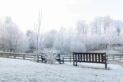 Banc vide dans la neige Images stock
