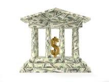 Banca americana con il simbolo dorato del dollaro Fotografia Stock Libera da Diritti