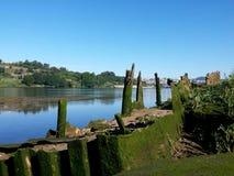 Banca blu dell'acqua di fiume Immagine Stock Libera da Diritti