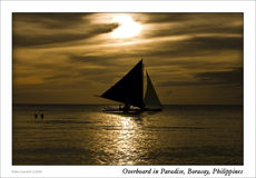 Banca Boat at Saling Sunset Royalty Free Stock Image