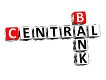 banca centrale delle parole incrociate 3D su fondo bianco Fotografia Stock Libera da Diritti