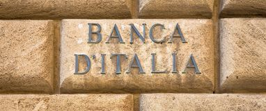 Bank of Italy text Royalty Free Stock Photography