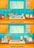 Banca da cozinha com os pratos limpos e sujos antes, após a limpeza ilustração do vetor
