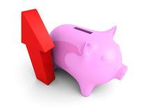 Banca dei soldi di porcellino con crescere freccia rossa Fotografie Stock Libere da Diritti