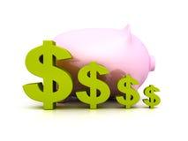 Banca dei soldi di porcellino con i simboli di valuta verdi del dollaro Immagini Stock Libere da Diritti