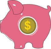 Banca del dollaro di porcellino Illustrazione di vettore Fotografia Stock