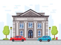 Banca del fumetto o costruzione di governo con le colonne romane Illustrazione di vettore della casa di prestito dei soldi illustrazione vettoriale