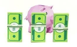 Banca del maiale con la banconota Immagine Stock Libera da Diritti