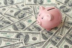 Banca del maiale su cento banconote in dollari Immagine Stock Libera da Diritti
