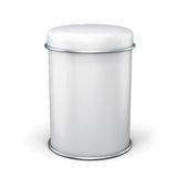Banca del metallo bianco per tè su fondo bianco Fotografie Stock
