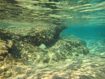 Banca della sabbia sulla barriera corallina bassa Immagine Stock