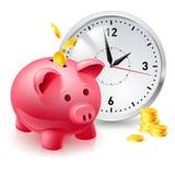 Banca dentellare del maiale con le monete e l'orologio Fotografia Stock