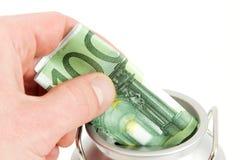 Banca di moneta con l'euro banconota Immagini Stock Libere da Diritti