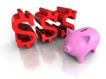 Banca di moneta di porcellino con i simboli di valuta rossi del dollaro conce di affari Immagine Stock Libera da Diritti