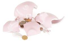 Banca di risparmio piggy rotta Fotografia Stock