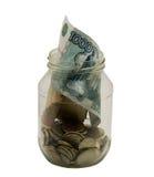 Banca di vetro con miele su una priorità bassa bianca. Foto Fotografia Stock Libera da Diritti