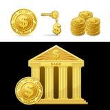 Banca dorata con soldi illustrazione di stock