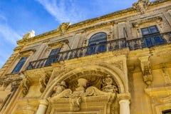 Banca Giuratale lub Miejski pałac w Mdina, Malta, architektoniczny szczegół obraz royalty free