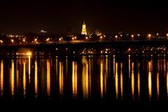 Banca giusta di Kyiv alla notte Fotografia Stock Libera da Diritti