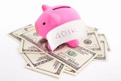 Banca Piggy 401K e dollaro Fotografie Stock